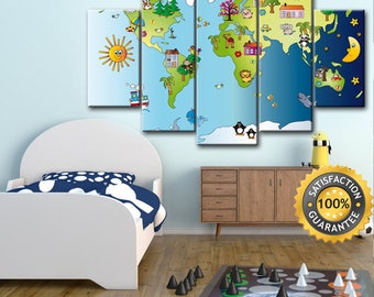 Nursery decor, World Map Canvas, World Map, Kids World Map, Kids map, Kids room decor, Nursery World Map, Nursery wall art, World Map Print
