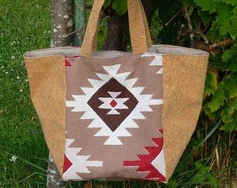 Cork and ethnic print tote bag