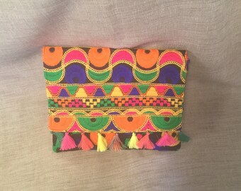 Ethnic pocket flap, Indian embroidered fabric.