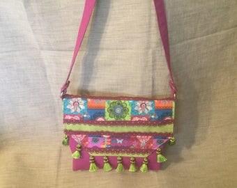 Bag Bohemian flap, pink, green and plum.