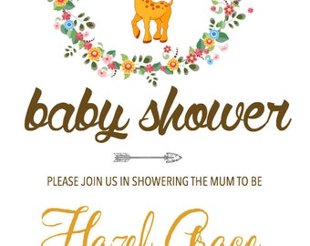 Baby Shower Invitation- Floral Jungle