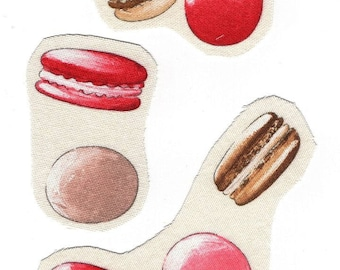 Applique sewing textile cotton set of 7 macarons for your creations