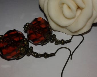 amber glass bead, designer dangle earrings