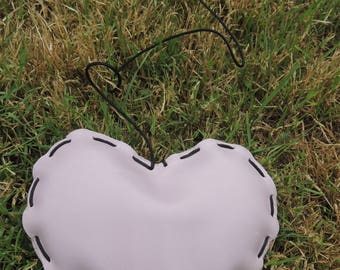 Lavender leather hand stitched heart