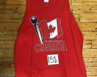 Red Cotton Tank Top with Canada Flag