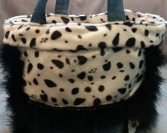 Bag of denim and faux fur