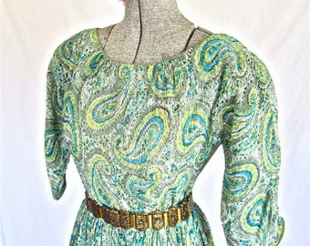 XS - S 50s Paisley 2pc Set Peacock Blue Green Peasant Top & Skirt Set by Heatherlane