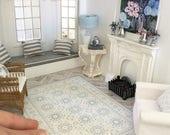 Miniature floor rug - blue medallions - Dollhouse - Diorama - Roombox - 1:12 scale