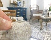 Miniature whitewashed wicker ottoman or side table - rattan - Dollhouse - Diorama - Roombox  - 1:12 scale