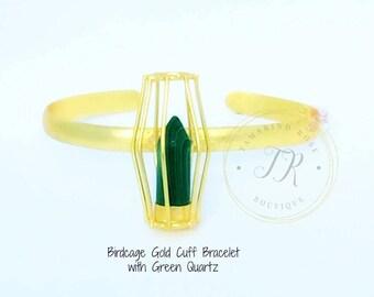 Birdcage Gold Cuff Bracelet with Green Quartz