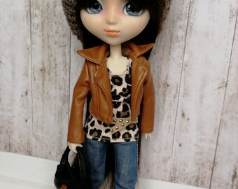 All Pullip leather jean jacket