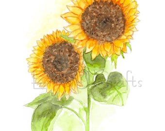 Sunflowers watercolor painting, watercolor print, home decor, art, flowers painting