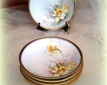 1900s DAFFODIL Dessert Bowls - Set of 6 - Collectible Hand Painted - Reinhold Schlegelmilch Tillowitz - Germany