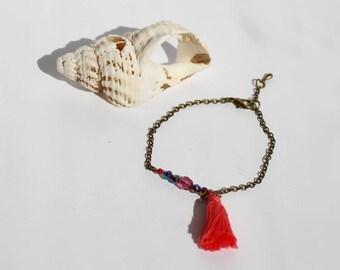 Bracelet Chaine bronze et Pompon Rose Corail