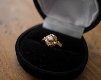 Beautiful antique engagement ring rose gold diamonds