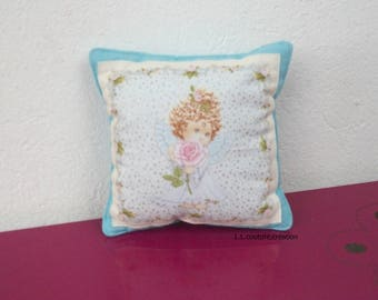 cushion blue cotton fabric with a little angel