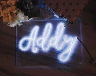 "Small 9.8"" x 13.8'' (25cm x 35cm) Plexiglass Calligraphy El Wire custom Neon Sign/ wall art/ lighting/ home decor/ wedding/ choose 6 letters"