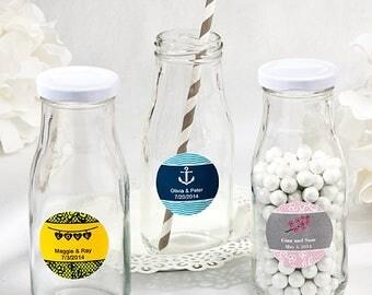 24  Personalized Vintage Style Milk Bottles - Set of 24