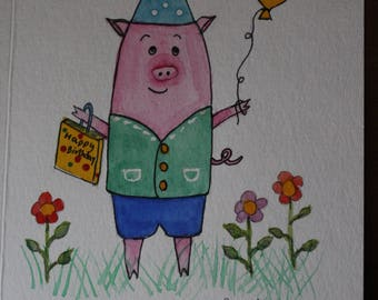 Birthday water color Pigs