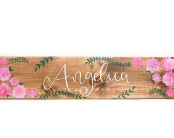 CUSTOM // Personalized Wood Name Sign // Gift // Flowers // Bedroom // Girl // Baby Nursery
