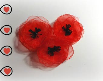 "3 poppies Poppy 2 ""organza flowers"