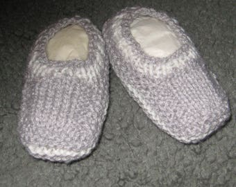 Hand knitted baby booties - gray with white stripes