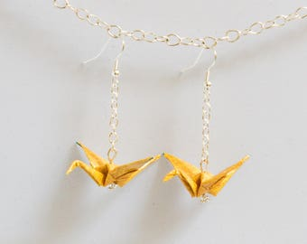 Earrings dangling yellow origami cranes