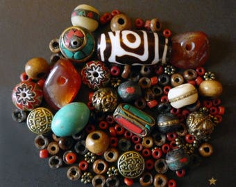 127 beads Nepal agate, coral, turquoise yak bone and metal