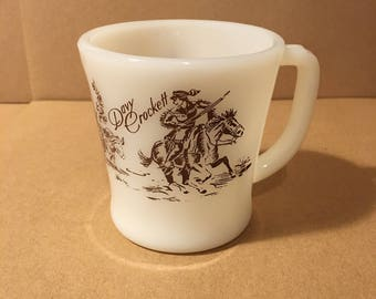 Vintage Davy Crockett Western Fire King Milk Glass Mug with Brown Detail
