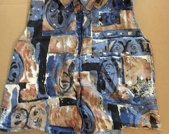 Episode silk blouse blue and brown pattern