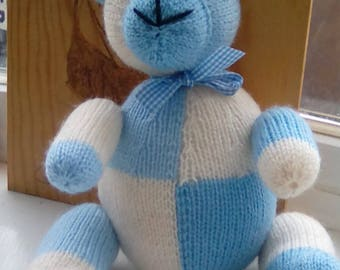 Blue Bear Plush Toy Hand Knitted