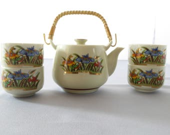 Asian Tea Set Tea Pot White Ceramic with Hand-Painted Flowers - Vintage (Free Shipping)