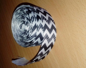 Width 22mm black and white grosgrain Ribbon