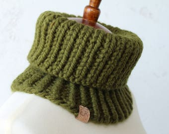 knit cowl mock turtleneck wool blend olive green cowl unisex cowl olive green scarf knit wool cowl black owned business green scarf knit