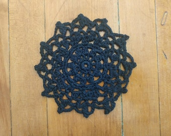 Little Sun Doily, Doily, Small Doily, Black Doily, Crochet Doily