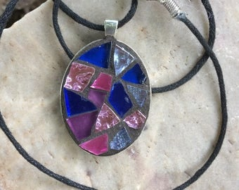 Mosaic Jewelry/Mosaic Necklace Pendant/Purple Oval Shaped Stained Glass Pendant/Wearable Art/Gift for Her Under 30/Mosaic Gift