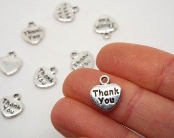 Heart Shaped 'Thank you' Charm, Silver Coloured Charm 11 x 12mm