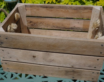 Sturdy Rustic, Untreated, Wooden Apple Box with Rope Handles; Reclaimed Wood