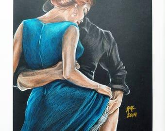 Let's Tango. Colored Pencil Original Drawing . Tango Dancers. Prismacolor Pencils Drawing