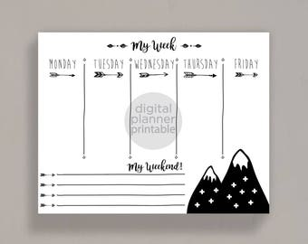 Arrows & Mountains 2017 Planner Weekly Printable, Agenda, Digital Planner, Academic Planner, Student Planner, Daily Planner Gift for Her