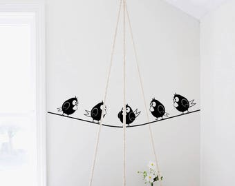 Birds wall decal-Nursery Wall Decals-Birds on the rope wall decals-Kids room decor-Dorm decor-Decals for bedroom-Funny wall decals