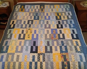 Blue and Yellow Reverse Image Quilt