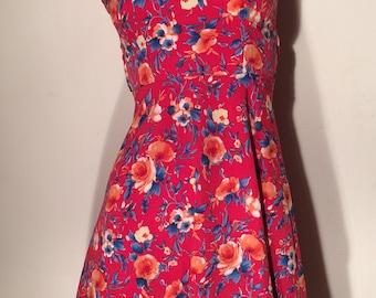 XS summer red floral dress // bow dress // skater skirt