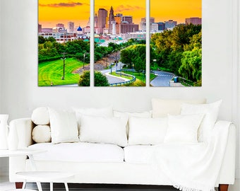 Hartford Connecticut USA City Skyline Large Art Print   Hartford Home Decor    Hartford Photo