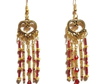 Bohemian earrings in red and gold beads