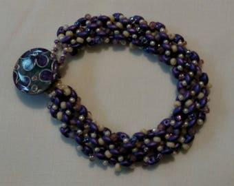 """Handmade Beaded Spiral Bracelet-""""Purple Flower"""""""