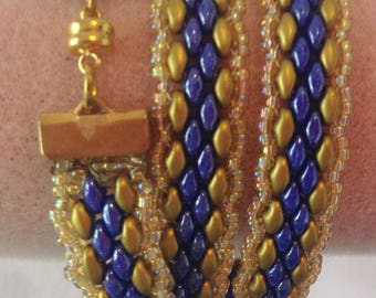 Wrap Bracelet in Royal Blue and Gold