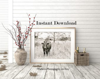 Farm Animal Download; Cow Print; Modern Farmhouse Wall Decor; Instant Downloads; Printable Wall Art; Home Decor Wall Art; Wall Art for Men.