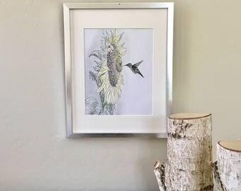 Sunflower art, hummingbird art, ink drawings, ink and pencil drawing,  original artist, nature art, kitchen art, living room art, mixed