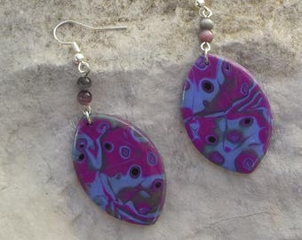 Earrings in polymer clay - pink and purple (170816 G)
